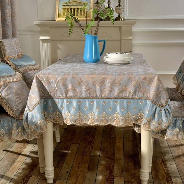 Tovaglia jacquard di design straordinario Pizzo blu / giallo Pizzo di lusso Matrimonio moderno Decorazioni per la stanza moderna Tovaglia / Tovaglia personalizzata