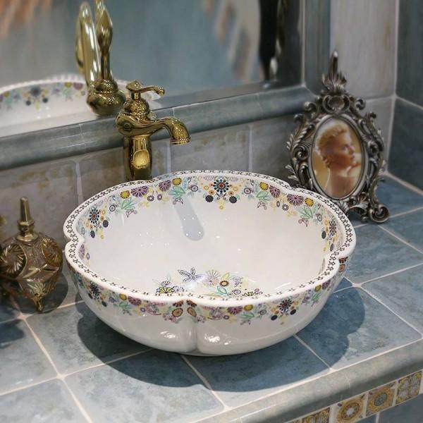 Lavabo Europa.Porcellana Artistica Europa Stile Vintage Lavabo In Ceramica Lavabo Da Appoggio In Ceramica Lavelli Da Bagno Lavelli A Forma Di Fiore