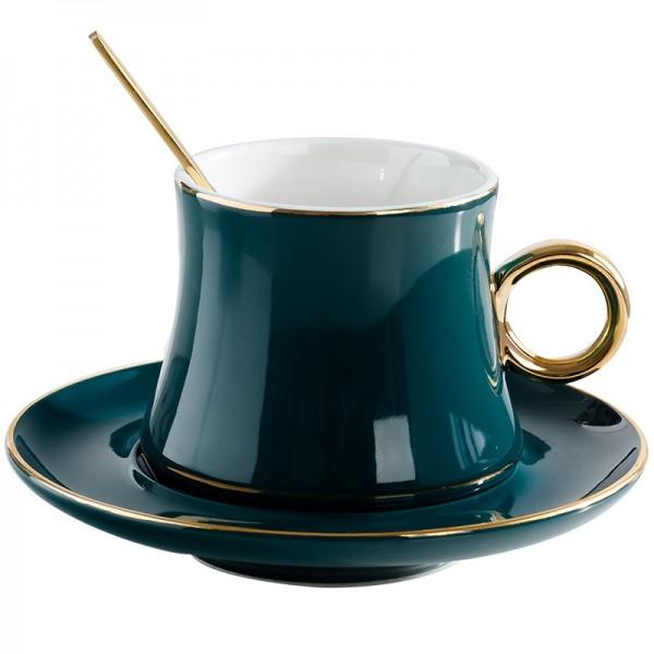 Set di tazze da caffè in ceramica stile europeo Creativo bordo dorato Tazza da tè e piattino Moda fiore Tè Tazza da tè in porcellana