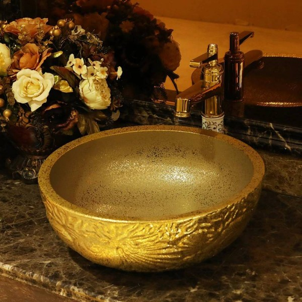 Lavabo Europa.Lavabo In Ceramica Fatto A Mano Lavabo Europa Lavandino Del Bagno Artistico Lussuoso Lavandini In Ceramica Dorati Argento