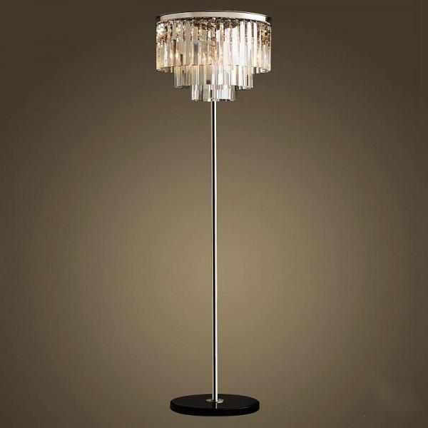 Lampada da terra a cristallo a led in argento cromato Lampada da tavolo a cristallo da tavolo Lampada da terra da soggiorno Lampada da terra E14 110-240V Led Vloerlamp