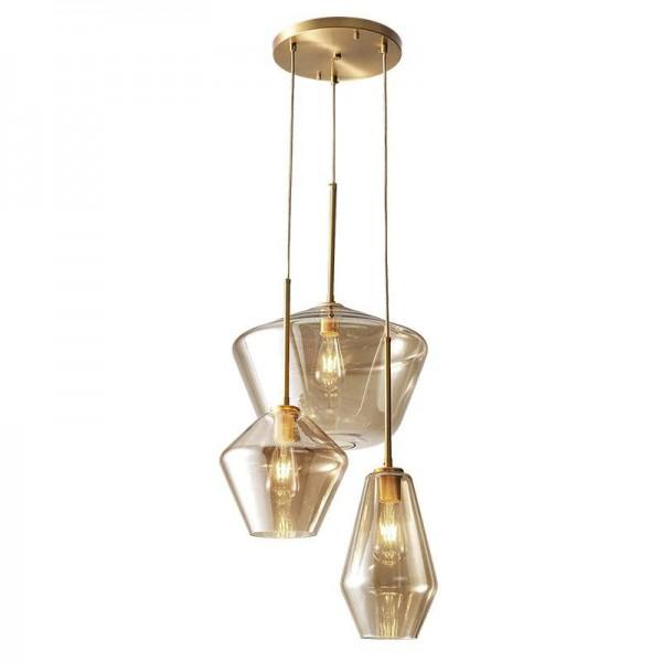 Nordic post moderne lampade a sospensione a LED in vetro atrio pieno rame sala da pranzo studio camera da letto droplight chiaro e vetro champagne