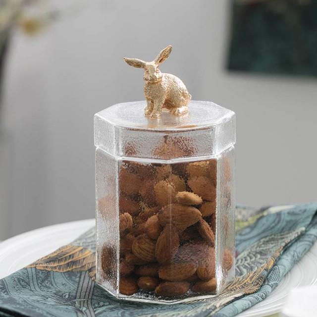 Set di 4/barattoli per spezie decorativo in vetro trasparente wedding Centerpiece display stoccaggio contenitori con coperchi