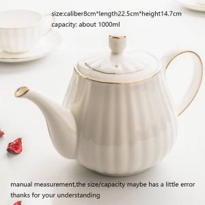 Contorno moderno della caffettiera di stile europeo da 1000 ml in bollitore in oro osseo in ceramica / bollitore per la colazione a mano latte latte punch pot bollitore