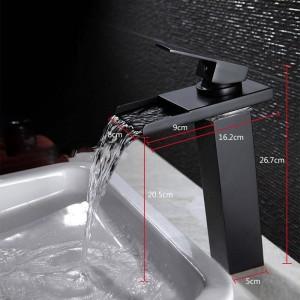"""10.6 """"Black Water Powered Rubinetto LED Rubinetto del bagno Rubinetto in ottone Rubinetto Cascata Rubinetti Rubinetto della gru a freddo caldo"""