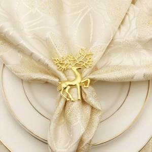 10pcs / lot Anelli di tovagliolo di tovagliolo di cervo in metallo con fibbia di tovagliolo di alce in argento dorato in oro
