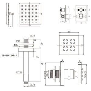 """12 """"Soffione quadrato a soffitto Soffione doccia ultra sottile con rubinetti termostatici getti messaggio corpo"""