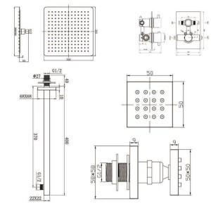 """12 """"Rubinetti termostatici Miscelatore doccia quadrato Testa ultrasottile con getti cromati per il massaggio del bagno"""