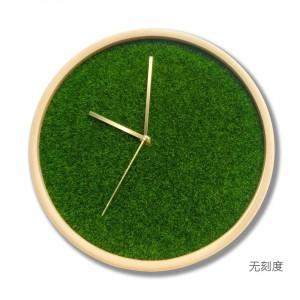 12 pollici Soggiorno in legno massello Orologio Casa moderna Camera da letto Orologio Muto Simulazione tappeto erboso pianta verde orologio da parete creativo puntatore in ottone
