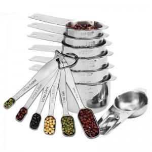 Set di 13 bicchieri e cucchiai in acciaio inossidabile per strumenti di misurazione del caffè con zucchero di cottura in cucina