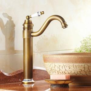 """13 """"Rubinetti antichi in ottone e porcellana Lavello da cucina Lavabo bagno Rubinetto in ottone Miscelatore Girevole 98831AP"""