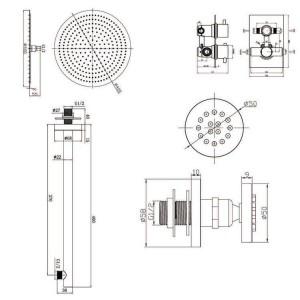 """Set doccia termostatico miscelatore tondo 16 """"con testina ultrasottile con rubinetteria termostatica cromata per bagno"""