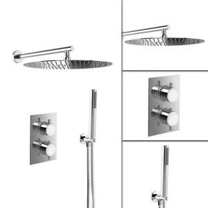 """16 """"Set termostatico per doccia ultra sottile con miscelatore tondo Set di valvole per bagno Testa cromata"""