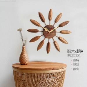 Orologio da parete in legno massello da 17 pollici Orologio da parete per soggiorno Design moderno Camera da letto Camera da letto Casa creativa Decorazione da fattoria muta