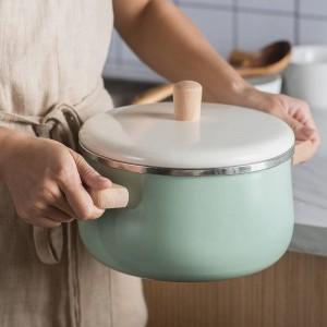 Pentola antiaderente per pentole antiaderente per pentole per latte in porcellana da 1,8 litri / 3,3 litri con coperchio Fornello a induzione Fornello a gas Pentole