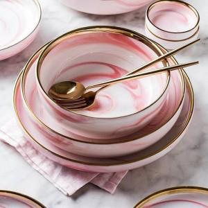 1pc Piatto da pranzo in ceramica in marmo rosa Piatto da insalata di riso Scodella Scodella Piatti da cucina Set di stoviglie Utensili da cucina per la casa Utensili da cucina