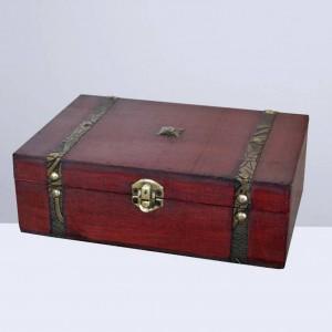 1pc Scatola portagioie vintage Scatola regalo in legno retrò Scatola del tesoro in legno Scatola portagioie in legno senza serratura