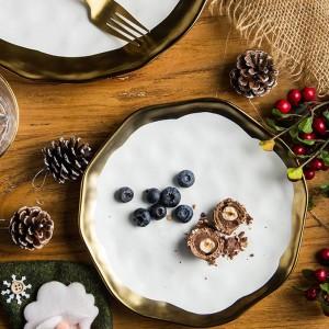 1 PZ 8/10 pollici Stoviglie Piatto da pranzo in ceramica Piatto da bistecca occidentale Piatto intarsio in oro Piatto da dessert Piatto da tavola in porcellana