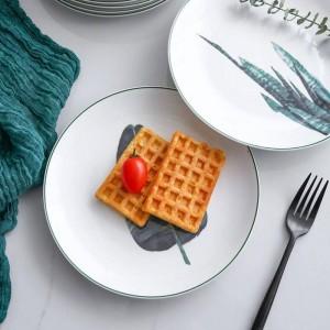 1PCS 8inch Piante verdi Piatto da pranzo in porcellana Servizio da tavola Servizio da tavola Piatto da dessert in ceramica Piatto da tavola Piatto da bistecca torta di manzo
