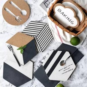 1 PZ Design originale Esagono Geometria Pad Tappetino in sughero Moderno Nordic Wind Tappetini in sughero bianco e nero Tappetino anti-piastra calda