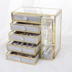 Nuova scatola di immagazzinaggio del cassetto Scatola di immagazzinaggio dei gioielli d'oro Orecchini Orecchini Collana di vetro Desktop Scatola di gioielli Regali