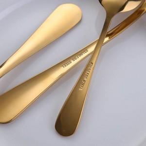 Set di posate in oro dorato 24 pz / lotto forchetta coltello bistecca in oro con scatola regalo in legno di lusso trasporto di goccia