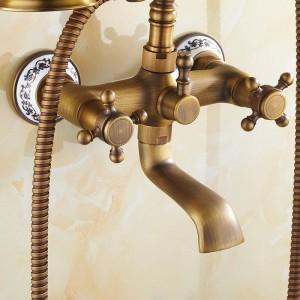 Rubinetto per vasca a 2 vie a parete in ottone antico Rubinetti per vasca da bagno Miscelatore per lavabo con doccetta Soffione per vasca e doccia