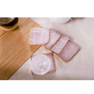 2 pezzi / confezione Sottobicchieri di agata rosa sottobicchieri per bevande sottobicchieri