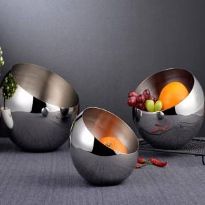 Ciotola obliqua in acciaio inossidabile 304 argento Serbatoio condimento buffet Scatola di scodelle sferiche da banco per frutta Piatti snack per frutta secca