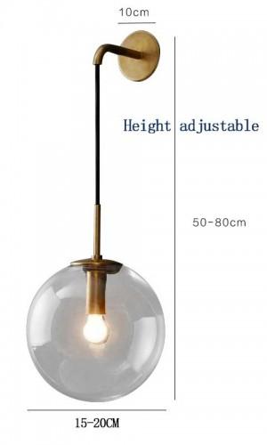 Lampada da parete a LED moderna nordica Paralume a sfera in vetro trasparente / grigio Camera da letto con specchio per il bagno Accanto alla lampada da parete Applique Illuminazione domestica
