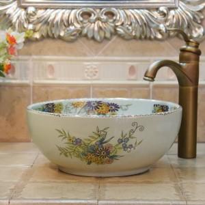 Lavabo da 35 cm mini crepa fiore e uccello fatto a mano Lavabo Lavabo artistico Lavabo in ceramica piccolo