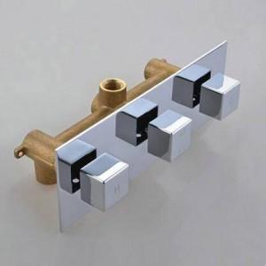 3 quadranti a 3 vie miscelatore quadrato rubinetto doccia in ottone cromato con deviatore rubinetto del bagno