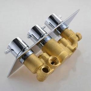 Rubinetto termostatico a 3 quadranti a 3 vie Rubinetto per doccia in ottone cromato con deviatore per rubinetto del bagno