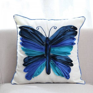 Fodera per cuscino decorativo ricamato farfalla 3D Federa di lusso di fascia alta per biancheria da letto Divano Almofadas Decorativas