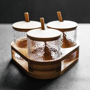Set di 3 pezzi di barattolo di vetro a forma di martello Set di condimenti Set di agitatore di spezie e pepe Sale da zucchero con peperoncino Strumenti da cucina