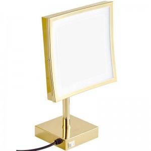 Specchio per il trucco in oro quadrato con ingrandimento 3X in piedi sul tavolo da toeletta Specchio cosmetico con 3 luci di livello (naturale / freddo / caldo)