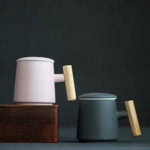 400ml di caffè tazza di ceramica creativa manico in legno tazza di latte tazza di acqua mano tazza di tè sensazione leggera uso intensivo