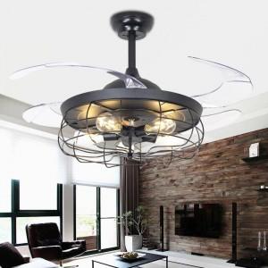 42 pollici retro ventilatore a soffitto ristorante ventilatore a luce invisibile lampade a sospensione a sospensione loft nordico lampadario ventilatore a distanza