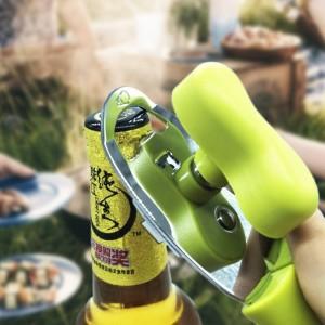 Apribottiglie manuale in acciaio inossidabile 4 in 1 Impugnatura ergonomica Impugnatura di bottiglie Apribottiglie durevoli a lame metalliche