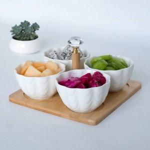 4pc / set con vassoio Forchetta Creativa in ceramica Ciotola di frutta Insalatiera Divisoria Insalata di frutta Piatto per snack Piatto per frutta secca Piatti giapponesi