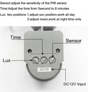 4PCS 12V PIR 10W Faretto LED Faretto impermeabile Garage Sicurezza Sensore di movimento Tempo Lux regolabile