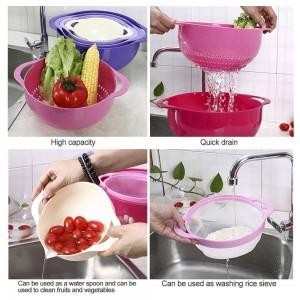 4 pz colino set colino cestino di plastica impilabile frutta verdura cestini lavaggio scolapiatti riso setaccio cestini cucina attrezzo