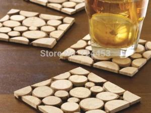 4 pz / pacco Tappetini per tazza in legno massello Sottobicchieri da tavolo Sottobicchieri europei 10x10 cm