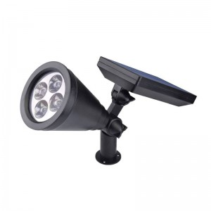 4PCS Lampada da giardino a LED ad energia solare Spot di sicurezza Luce bianca calda impermeabile Impermeabile per la casa Riflettore per la casa