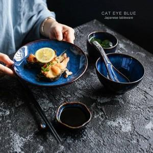 5 pezzi per set stoviglie in ceramica blu profondo 1 persona cena set piatto ciotola tazza salsa stoviglie in porcellana