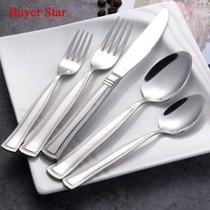 5 pezzi / set posate bordo perlato set di posate in acciaio inossidabile 18/8 servizio di posate per cucchiaio e forchetta set di stoviglie