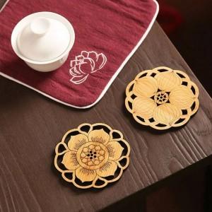 Set da 6 pezzi di sottobicchieri di caffè rotondi in bambù Tappetino antiscivolo Accessori per la tavola Accessori per fiori Coppa per tazza Scultura in legno fatta a mano