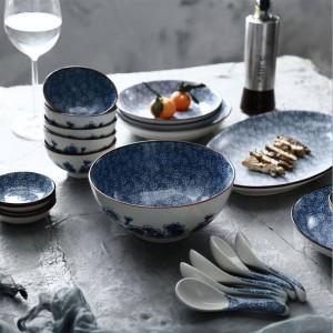 Set 6 piatti piani per 6 persone Linee giapponesi Piatti da tavola in ceramica dipinti a mano Set di piatti Set di scodelle per riso al vapore