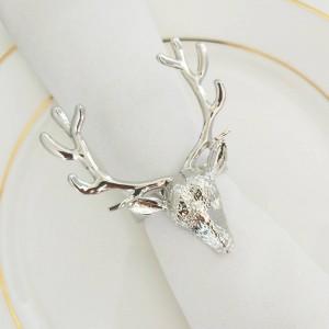 6pcs Anello portatovagliolo in cervo con testa di cervo in argento dorato Anello porta tovagliolo in metallo con fibbia in tessuto decorativo per bocca dell'hotel
