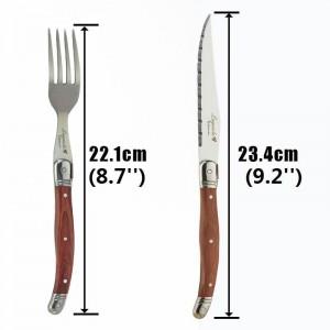 6 pezzi di coltelli da bistecca Laguiole Set di forchette Posate giapponesi in acciaio inox Coltelli e forchette da pranzo in legno Set di stoviglie con manico in legno